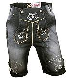 Almwerk Herren Trachten Jeans Lederhose kurz Modell Platzhirsch, Farbe:Schwarz;Lederhose Größe Herren:52