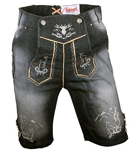 Almwerk Herren Trachten Jeans Lederhose kurz Modell Platzhirsch, Farbe:Schwarz;Lederhose Größe Herren:54