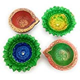 Handmade Diwali Clay Diya Set Of 4 Beautiful Traditional Terracotta Diyas For Diwali Decorative - B076HXDMXW