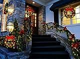 Coxeer Weihnachtskranz, Türkranz Weihnachten Weihnachtsdeko Kranz Weihnachtsgirlande mit Kugeln Handarbeit Weihnachten Garland Deko-Kranz (Mehrfarbig-Bell) - 5