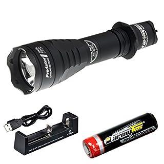 Armytek Predator v3 HI - High Intensity - 540 m weit reichende LED Taschenlampe mit 1100 Lumen - Set mit Li-Ion 3400 mAh Akku und 1,0 A USB-Ladegerät