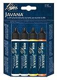 Kreul 92200 - Javana Stoffmalstifte für helle und dunkle Stoffe, Grundfarbenset, brillante Farbe mit Metalliceffekt und pastosem Charakter, 4 x 29 ml in weiß, silber, gold und kupfer