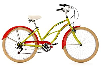 "Beach Cruiser 26"" Honolulu Red Green 6 Gear KS Cycling"