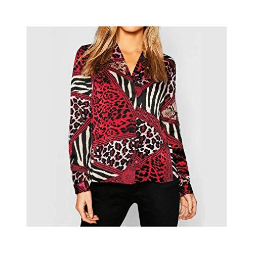 Leopard Blouse Casual Women Tops Chiffon Vintage Long Sleeve Shirt Turn Down Collar -