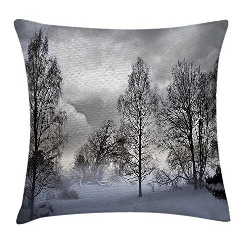 Bgejkos Winter Decor Dekokissen Kissenbezug, verschneiter Wald mit gefrorenen Bäumen unter stürmischem, schwermütigem Himmel, bedeckt, windige Landschaft, Dezember