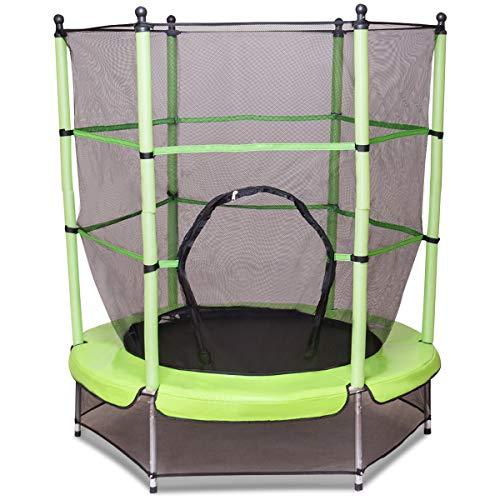 COSTWAY Trampolin mit Sicherheitsnetz | Gartentrampolin Ø140cm | Kindertrampolin | Fitness Trampolin | Indoor-/Outdoortrampolin Sprungmatte