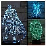 Hero Carte Nuit de panthère Noire Illusion Lampe de Table Multicolore Chambre à Coucher néon 7 Couleurs, LED, lumière de Nuit...