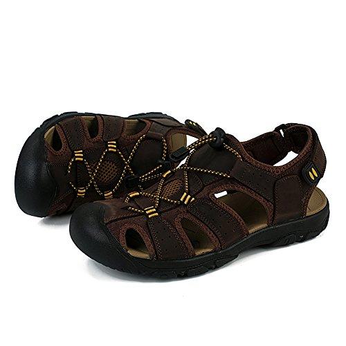 Motorun Hommes Sandales en cuir de Chaussures pour homme 86Brown