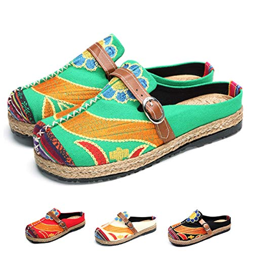 1ef84fe000440 gracosy Women's Walking Slip on Slipper Loafer Flat Shoes Summer Sandals  Breathable Beach Shoes Colorful Sun Flower Embroidered Shoes Outdoor  Leisure ...