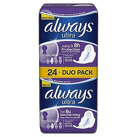 Always Long Plus Duo Pack Damenbinden mit Flügeln, 24Stück pro Packung, 2Packungen