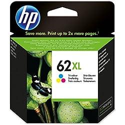 HP 62XL - Cartucho de tinta Original HP 62 XL de álta capacidad Tricolor para HP OfficeJet 5740 HP ENVY 5540, 5640, 7640