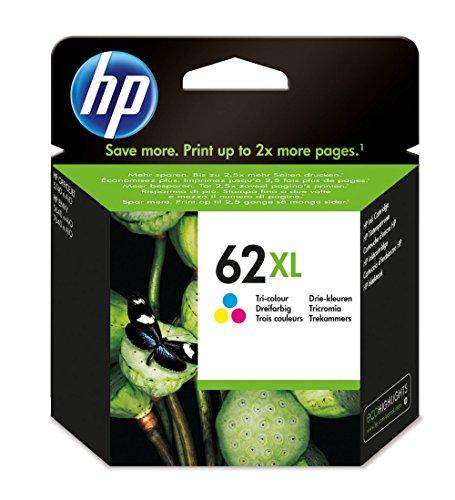 HP 62XL Cartouche d'Encre Trois Couleurs (Cartouche Cyan, Magenta, Jaune) Grande Capacité Authentique (C2P07AE)