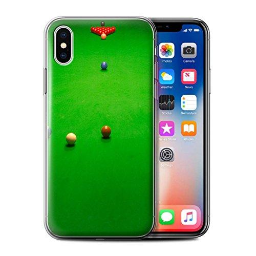 Stuff4 Gel TPU Hülle / Case für Apple iPhone X/10 / Blaue Kugel/Rack/Rosa Muster / Snooker Kollektion Baulk