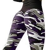 ❤️ Yogahosen Strumpfhose Damen,ABsoar Frauen Tarnung Printed Blumenmuster sexy Yoga Hosen Sporthose Frauen Dünne Fitnesshose Leggings (XL, Violett)