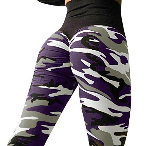 umpfhose Damen,ABsoar Frauen Tarnung Printed Blumenmuster sexy Yoga Hosen Sporthose Frauen Dünne Fitnesshose Leggings (XL, Violett) ()