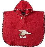 Morgenstern Kinder Poncho mit Kapuze und niedlicher Schaf-Stickerei rot
