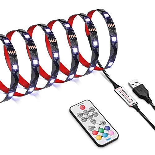 AMIR LED Streifen, 2.5m 75 LED Strip, 5050 RGB LED Lichtband mit 17 Tasten Fernbedienung, 18 Farben, 21 dynamische Modi, TV Beleuchtung LED Stripe für TV-Bildschirm, PC-Monitor, Party und Ganzes Haus