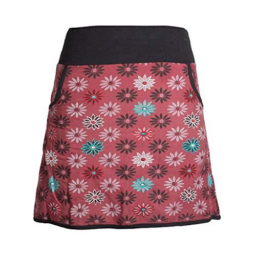 Vishes - Alternative Bekleidung - Damen Baumwoll-Rock mit 70er Jahre Retro Blumen Bedruckt und Taschen dunkelrot 38 (Mädchen Jahre Kleidung 70er)