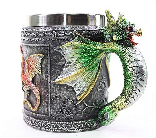 Mythische grün royal Dragon Tasse Schlange Griff Mittelalter Collectible Stein Halloween Magische Party Home Decor Geschenk ~ Wir zahlen Ihre Umsatzsteuer