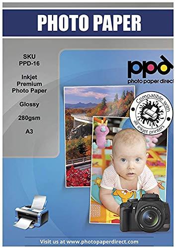 PPD Inkjet 280 g/m2 Super Premium Fotopapier Glänzend Mikroporös DIN A3 x 50 Blatt PPD-16-50