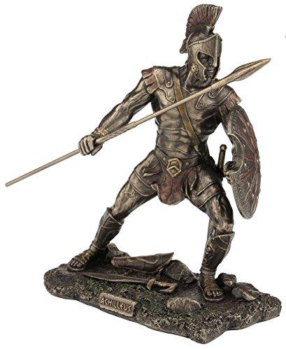 Figur des Achilles Griechicher Krieger Troja bronziert Skulptur Hektor - Griechische Skulptur