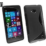 Emartbuy® Microsoft Lumia 640 3G 4G LTE / 640 3G 4G LTE Dual Sim Ultrafina a Presión TPU Gel Funda Carcasa Case Cover Negro