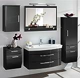 Badezimmer Set Hochglanz anthrazit Badmöbel Waschbecken Badezimmermöbel Badset
