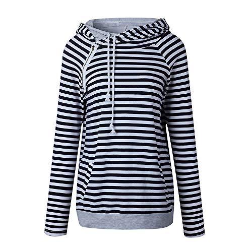 Xmiral Damen Hoodies Herbst und Winter Striped Panel Hoodie Pullover Tasche Bluse (M,Schwarz)