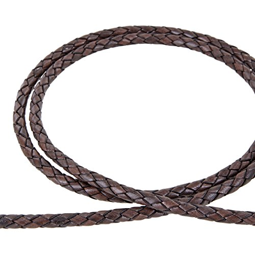 AURORIS - Lederband geflochten - Durchmesser/Farbe/Länge wählbar - Variante: Ø 6mm / antik-dunkelbraun / 1m