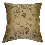 Beige, Rojo, Oro, Verde y Floral Brocade Cuadrado Manta Decorativa Funda de Almohada