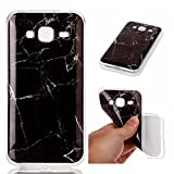 For Samsung Galaxy J3 (2016)J310 Case Cover, Ecoway Marble pattern TPU Clear Soft Silicone Back Colorful Printed Silicone Case Protective Cover Cell Phone Case for Samsung Galaxy J3 (2016)J310 - black