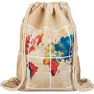 styleBREAKER bolsa de deporte con estampado mapamundi en óptica de acuarela a ambos lados, mochila, bolsa, unisex 02012118