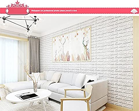 Indexp 3D DIY PE Foam Tile Brick Stone Wallpaper Embossed Noise Reduction Wall Decoration (27.56x30.31in, White)