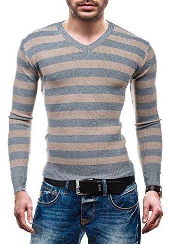 BOLF – Pull - Tricot – Sweatshirt – V-neck - S-WEST 6022 - Homme Gris