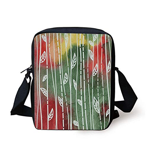 CBBBB Watercolor,Doodle Style Leaves on Stems Grunge Motley Backdrop Dirty Look Exotic Decorative,Jade Green Yellow Red Print Kids Crossbody Messenger Bag Purse -