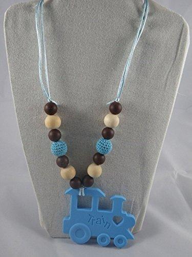 Collier de portage/allaitement marron et bleu train
