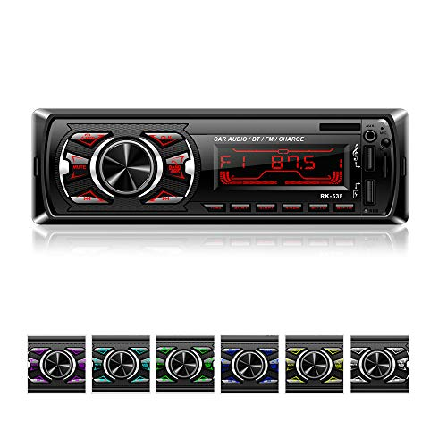Autoradio mit Bluetooth Freisprecheinrichtung, bedee MP3 Autoradio 1 Din USB Digital Media-Receiver mit SWC Fernbedienung, 7 LED Farben, SD/AUX/FM Radio, Universal für Android/iPhone/iPod Play