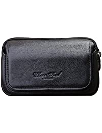 Genda 2Archer Mens Leather Belt Loops Waist Bag Wallet Phone Pouch (Black)