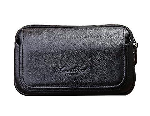Genda 2Archer Sac de poche en cuir de ceinture de sécurité de petit argent de voyage (Noir)