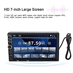 Tonysa Autoradio Media Player 7 Zoll Doppel-DIN-Touchscreen Bluetooth-Autoradio MP5-7013B MP3-Player mit Daul-System Bildverknüpfung, Rückfahrkamera-FM-Audio, Zweiwege-Verbindung, Fernbedienung