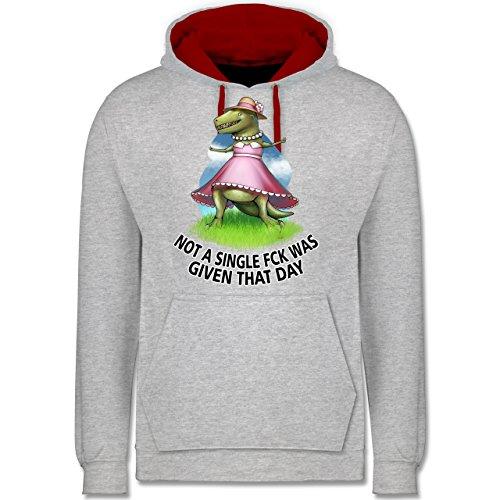 Statement Shirts - Not a single fck - T-Rex - Kontrast Hoodie Grau Meliert/Rot