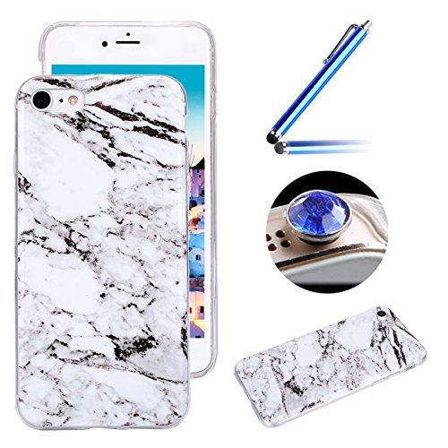 Etsue pour [ iPhone 7 ] Doux Protecteur Coque,TPU Matériau Frame est Transparent Soft Cover pour iPhone 7,Marbre Motif par Dessin de Mode Case Coque pour iPhone 7 + 1 x Bleu stylet + 1 x Bling poussiè Blanc