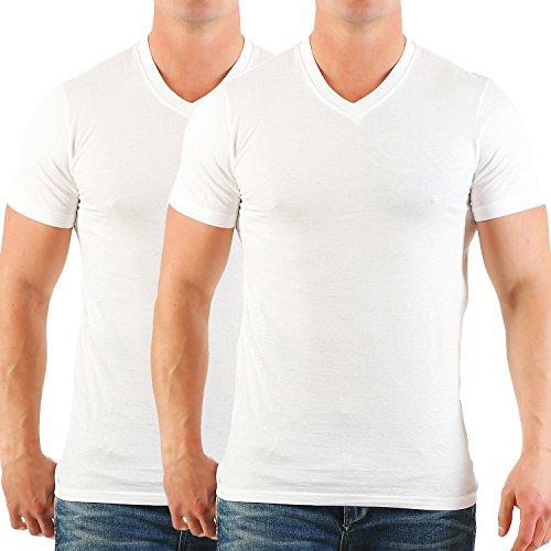 Herren T-Shirt mit V-Ausschnitt im 2er Pack Chlorfrei Nr. 135 Weiß / Weiß