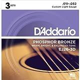 D 'Addario EJ26–3d akustisches 18Stück Edelstahl Gitarre Saite für Musikinstrument Saiten für Musikinstrumente (Gitarre, Edelstahl, akustisches, 18Stück (S))