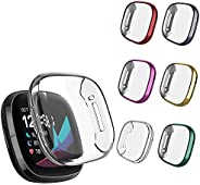 S-Color Protective Case Compatible with Smartwatch Fitbit Sense/Fitbit Versa 3 Screen Protector,All Around Ult