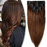 Extension a Clips Cheveux Humain Naturel Maxi Volume Tête Entière - 100% Remy Human Hair Double Weft 8 Pcs Extensions (#04 Châtain, 35cm-120g)