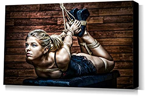 Hogtie - Tied Up Girl - stretched canvas print - Fine Art of Bondage, sexy erotic fetish BDSM wall art, 40x60 cm, 16