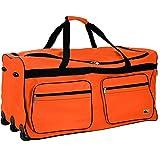 Deuba Borsone Trolley XXL 85x43x44cm 160L manico telescopico estraibile 3 ruote 5 piedini Borsa da viaggio bagaglio valigia arancione