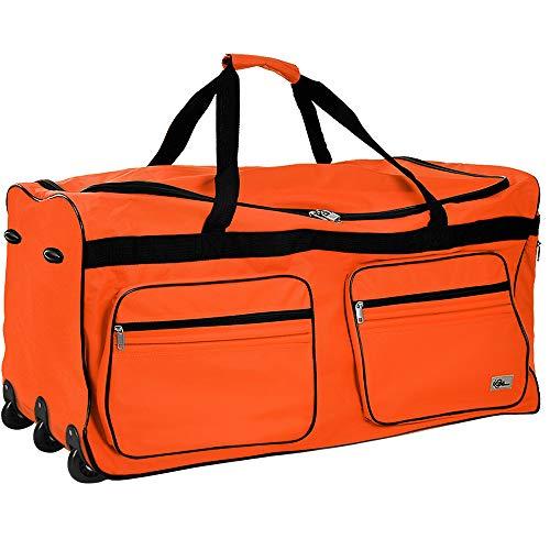 DEUBA XXL Reisetasche | mit Trolleyfunktion | Rollen mit Kugellager | Teleskopgriff | abschließbar 160 Liter in Orange Sporttasche Reisetrolley Gepäcktasche