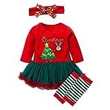 Baywell Baby Mädchen Weihnachten Bekleidungsset, Outfit Kleid mit Kopfband und Beinwärmer (60 / XS / 0-3 Monate, Rot)